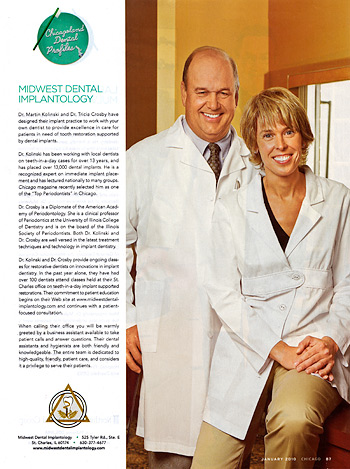 Dr. Kolinski and Dr. Crosby in Chicago magazine